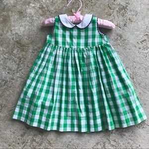Baby checked green white dress preppy sweet